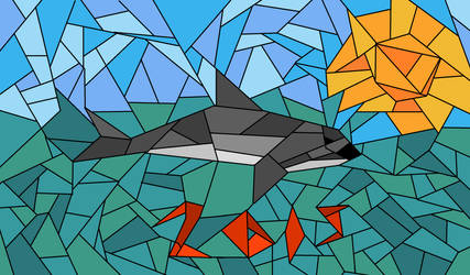 Stained glass vaquita by goldenliontamarin