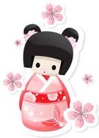 Japanese Geisha Doll - buns by Gajderowicz