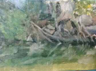 down by the river in plein air. 5x7 oil on panel by jjackm