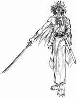 Wolf samurai with katana by WolfLSI