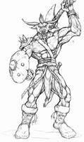 Minotaur barbarian by WolfLSI