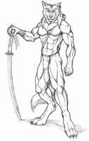 Werewolf warrior with katana by WolfLSI