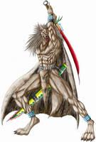warrior in battle position by WolfLSI