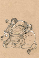 Inktober #19-A Steven and his Lion by BritAndBran