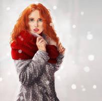 Beautiful red girl by AzurLazuly