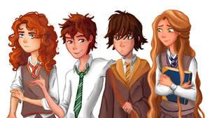 ROTBTD-Hogwarts AU AU 1/? (colored version) by moonlight-dragonart