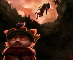 the gank - league of legends fan art by MonkeyMan-ArtWork