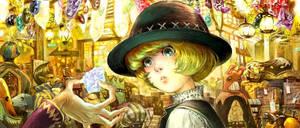 jewel saler in a market by asahinoboru