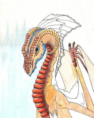 Blue Brown Dragon by Meskarune