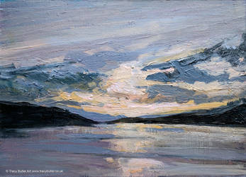 Silvery Sunset, Loch Fyne by tracybutlerart