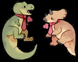 tie-rannosaurus rex and tie-ceratops by supichu