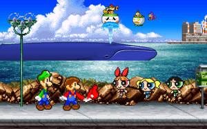 Art Trade: Mario Bros. meet The Powerpuff Girls by BeeWinter55