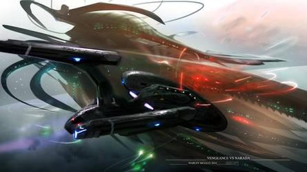 U.S.S Vengeance vs The Narada by thraxllisylia