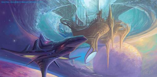 Orbital Galleon by thraxllisylia
