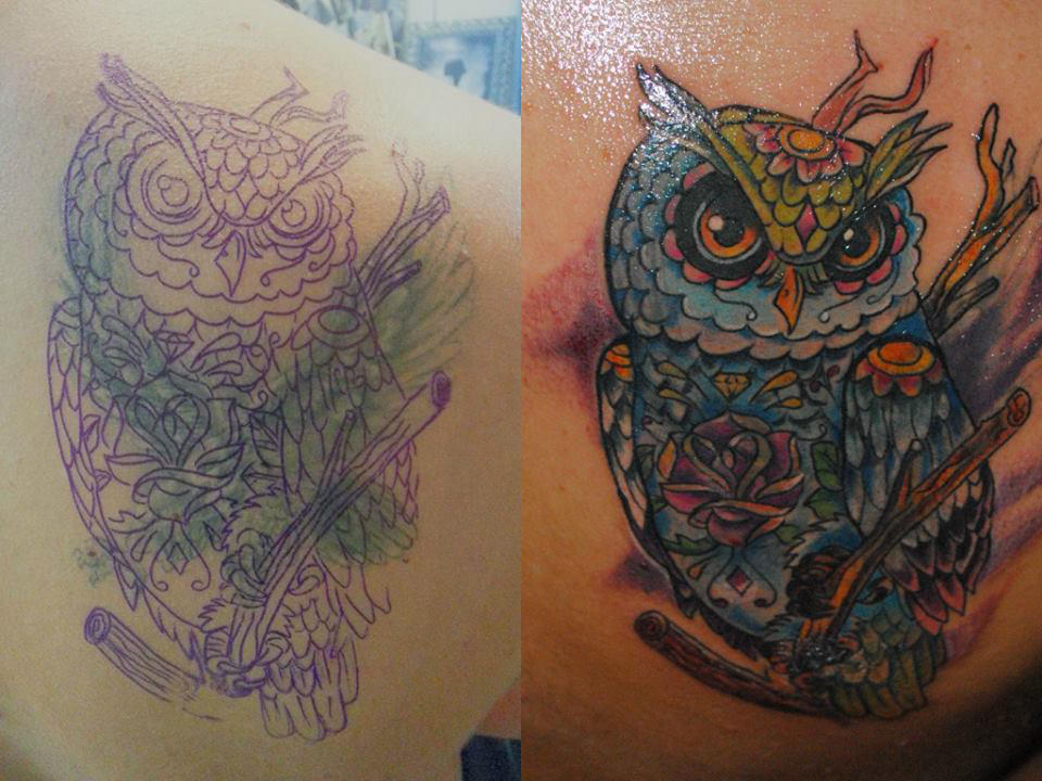 Owl cover-up tattoo by Adda by transilvaniatattoo66