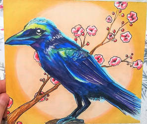 Crow and Cherry Blossom by RealEnough