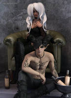 Leather and Wine: Lilith and Fayze by LukaSkullard