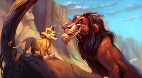 Simba and Scar Scene Study by TehChan