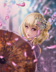 Yachi Hitoka sakura shower by Kotei-Heika-Chrome-D