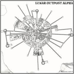 Lunar Base Line Art by theschell