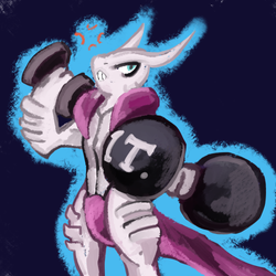 Mewtwo X working it out by Hyper-Stan