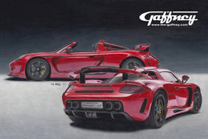 Colored Pencil Red Porsche by theGaffney