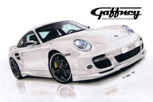 Colored Pencil White Porsche by theGaffney