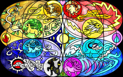Eeveelutions Stained Glass by Angel-Pup