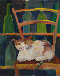 Cat in a wine store by lemmeng