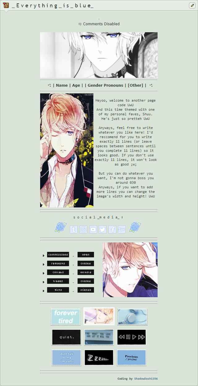 F2U - Shuu Sakamaki page code by ShadowDash1356