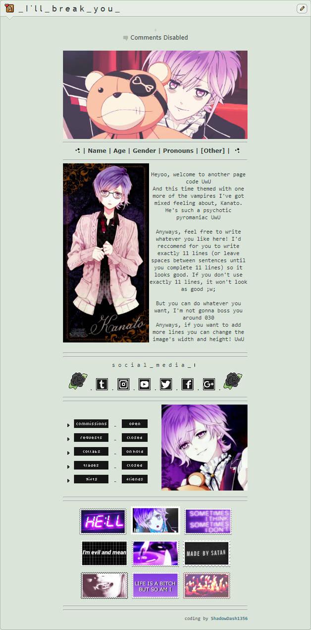 F2U - Kanato Sakamaki page code by ShadowDash1356