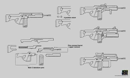 Assault Rifle Sketches 2 by nerdwerk