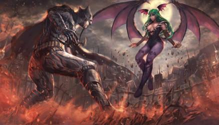 Batman V Morrigan Aensland by BrightKnightcrusader
