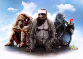 Three Wise Monkeys - Hear, See, Speek by visio-art