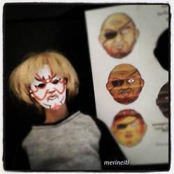 Miniature masks in sixth scale by merineiti