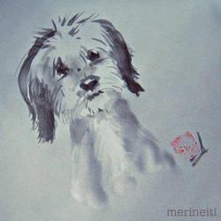 Dog portrait in chinese ink - Inktober! by merineiti