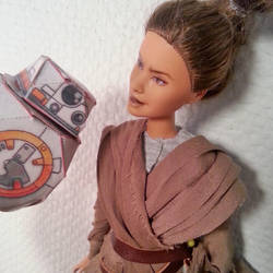 BB-8 Rey custom barbie doll by merineiti
