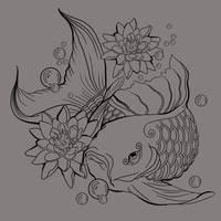 Free Koi Tattoo LineArt by bonbon3272