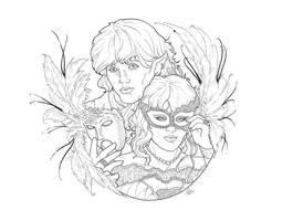 Masquerade LineART by bonbon3272