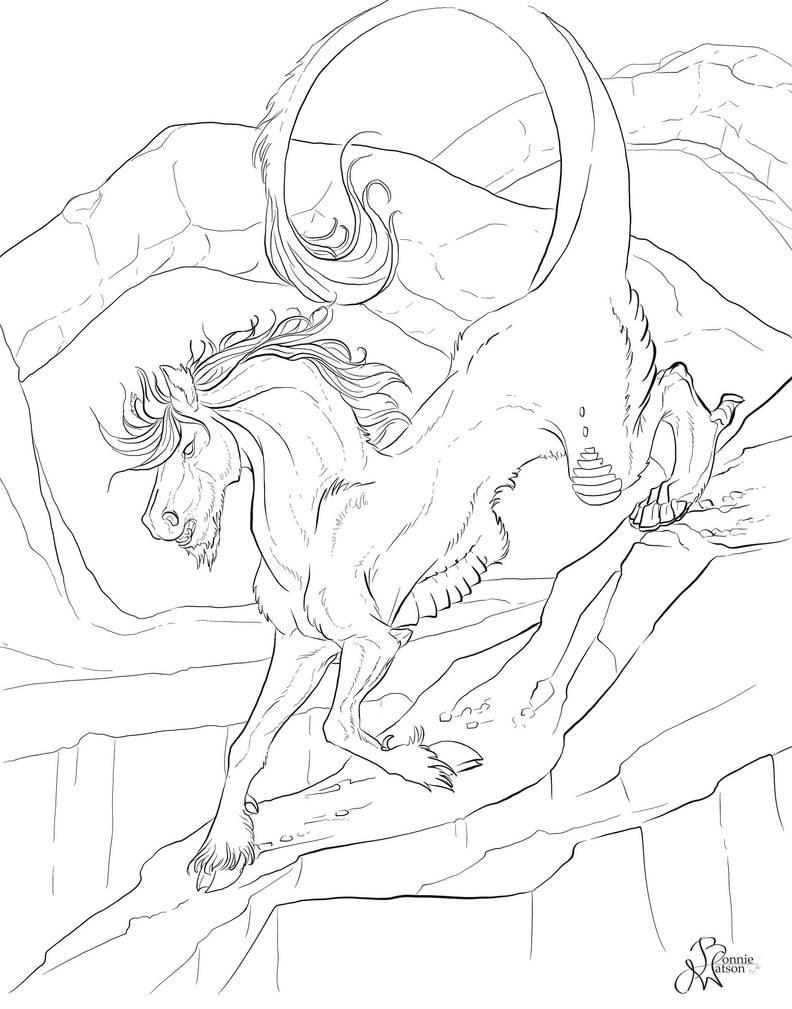 Eastern Dragon Horse LineART by bonbon3272