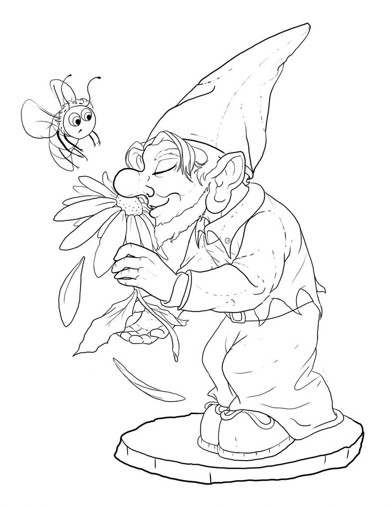 Lawn Gnome LineART by bonbon3272