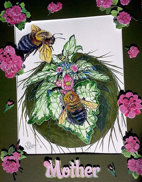 Bees in Watercolor - Mother's Day Painting by bonbon3272