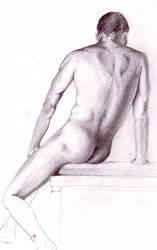 Nude 2 - male back figurestudy by ankhesnamun