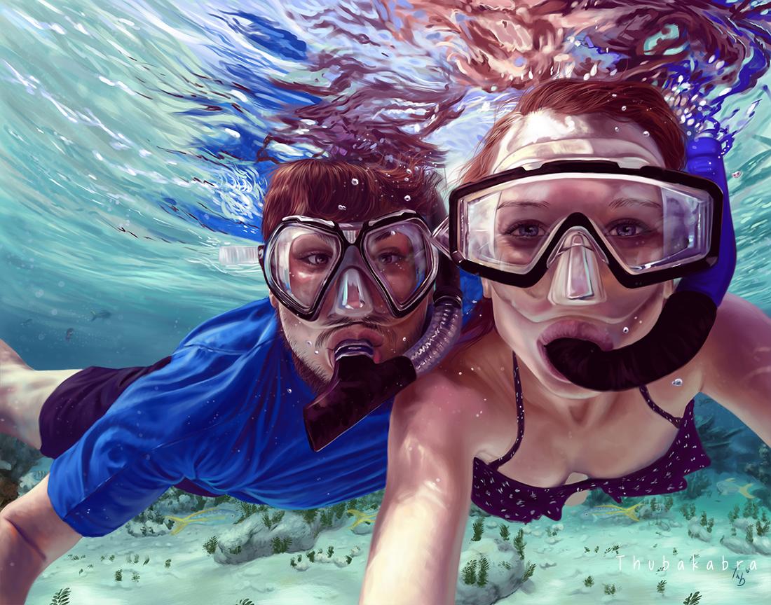 Underwater - photorealistic digital painting by Thubakabra