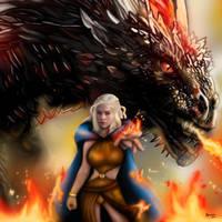 Daenerys Targaryen y su dragon Drogo by ArTestor