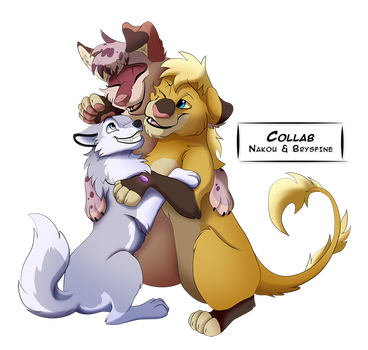 A fluffy grouphug by Nakouwolf