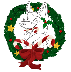 Christmas Badge - Free Lineart - Wolf by Nakouwolf