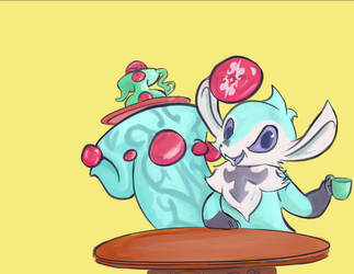 A carbuncle and  teapot by Exranion