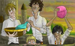 Marauders up a Hogwarts Tower by Alatariel-Amandil