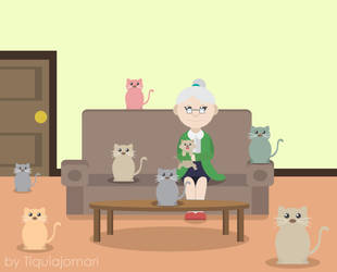 The Cat Lady by tiquiajomari